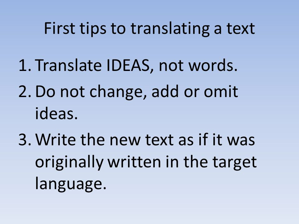 First tips to translating a text