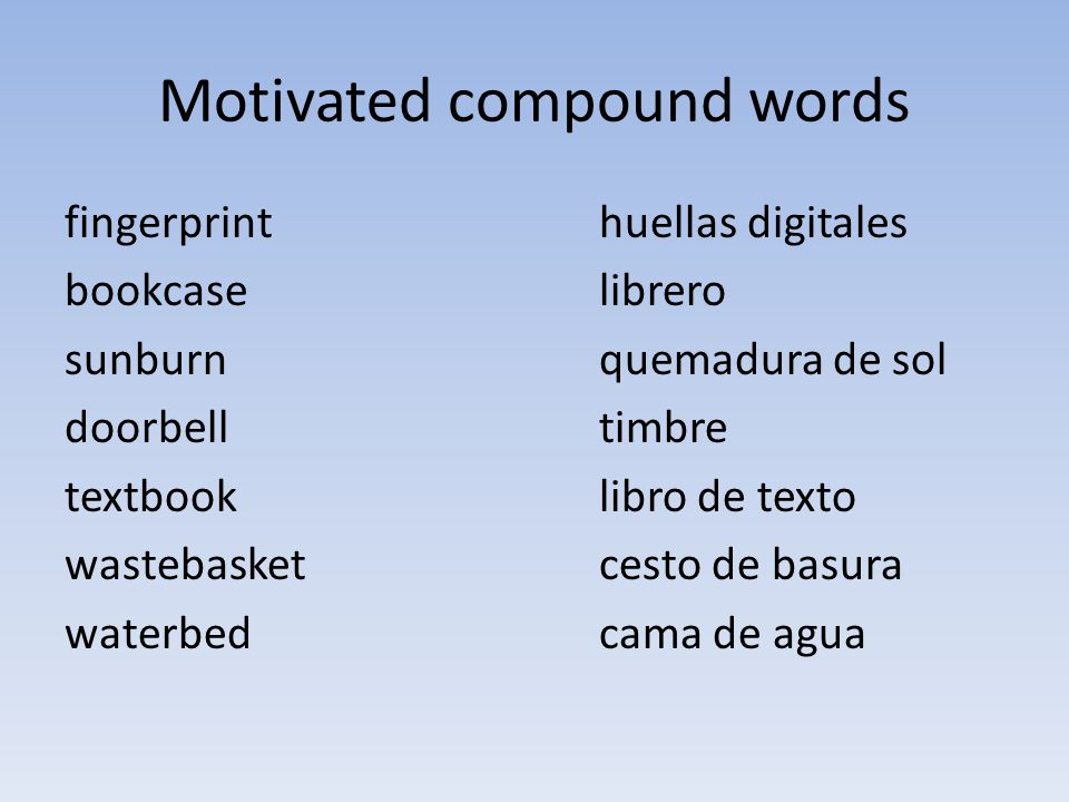 Motivated compound words