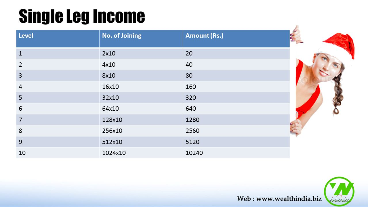 Single Leg Income Level No. of Joining Amount (Rs.) 1 2x10 20 2 4x10