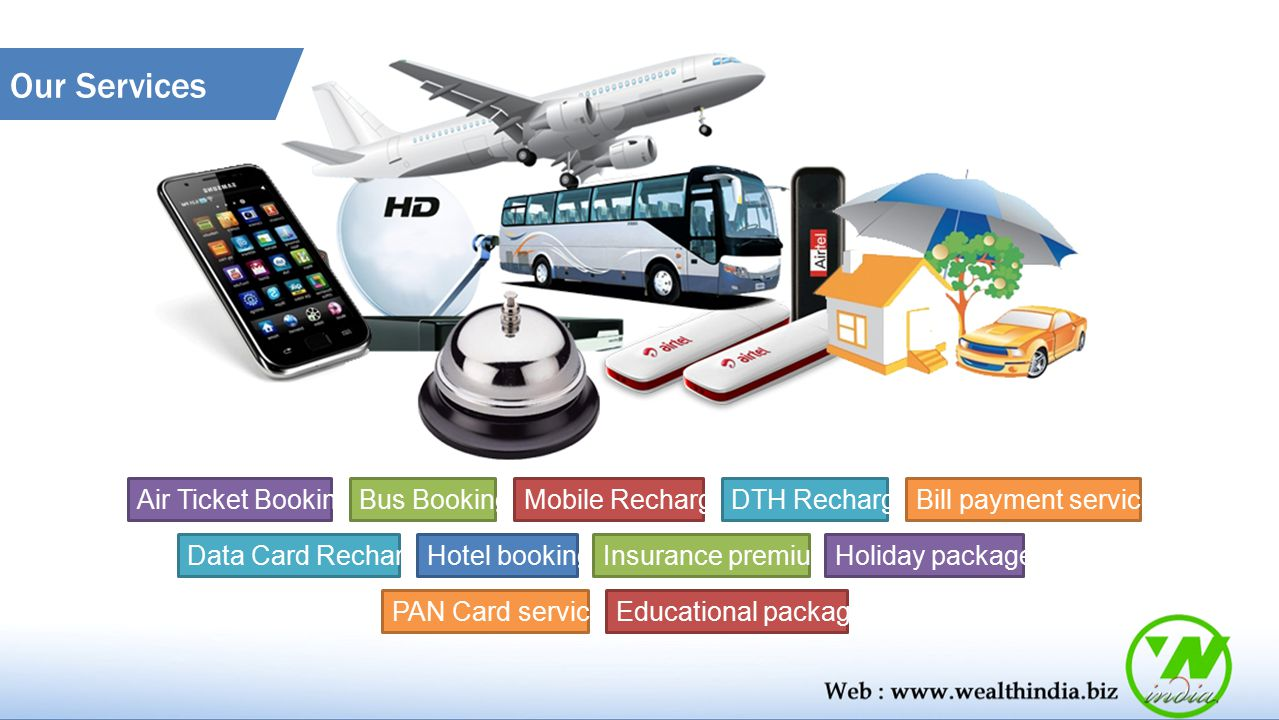 Our Services Air Ticket Booking Bus Booking Mobile Recharge