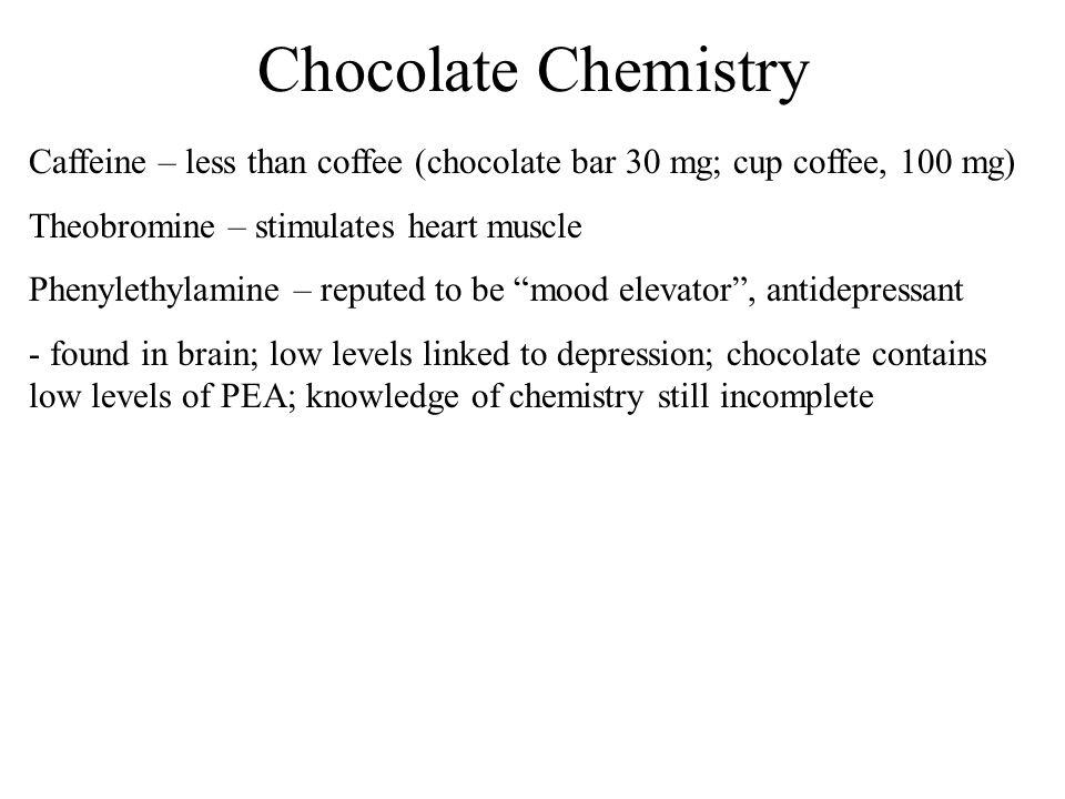 Chocolate Chemistry Caffeine – less than coffee (chocolate bar 30 mg; cup coffee, 100 mg) Theobromine – stimulates heart muscle.