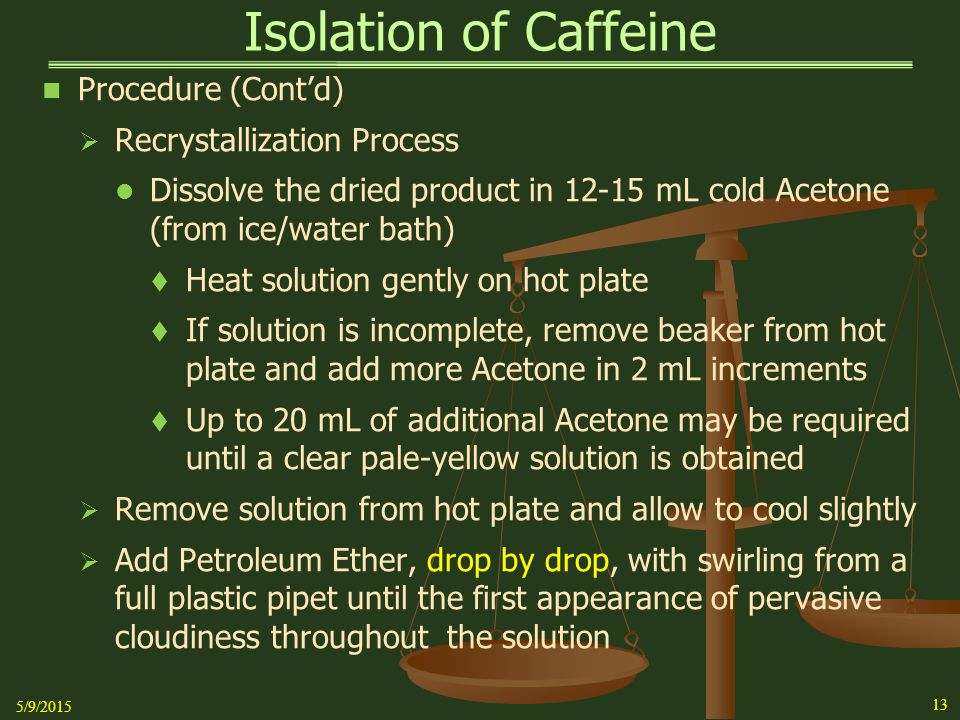 Isolation of Caffeine Procedure (Cont'd) Recrystallization Process