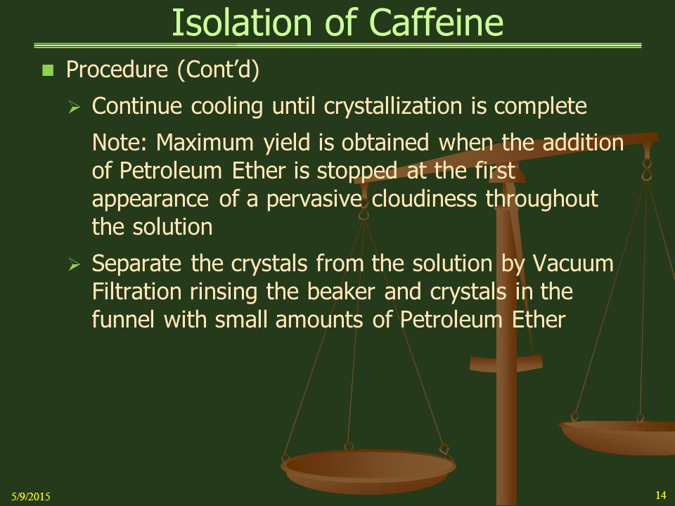 Isolation of Caffeine Procedure (Cont'd)