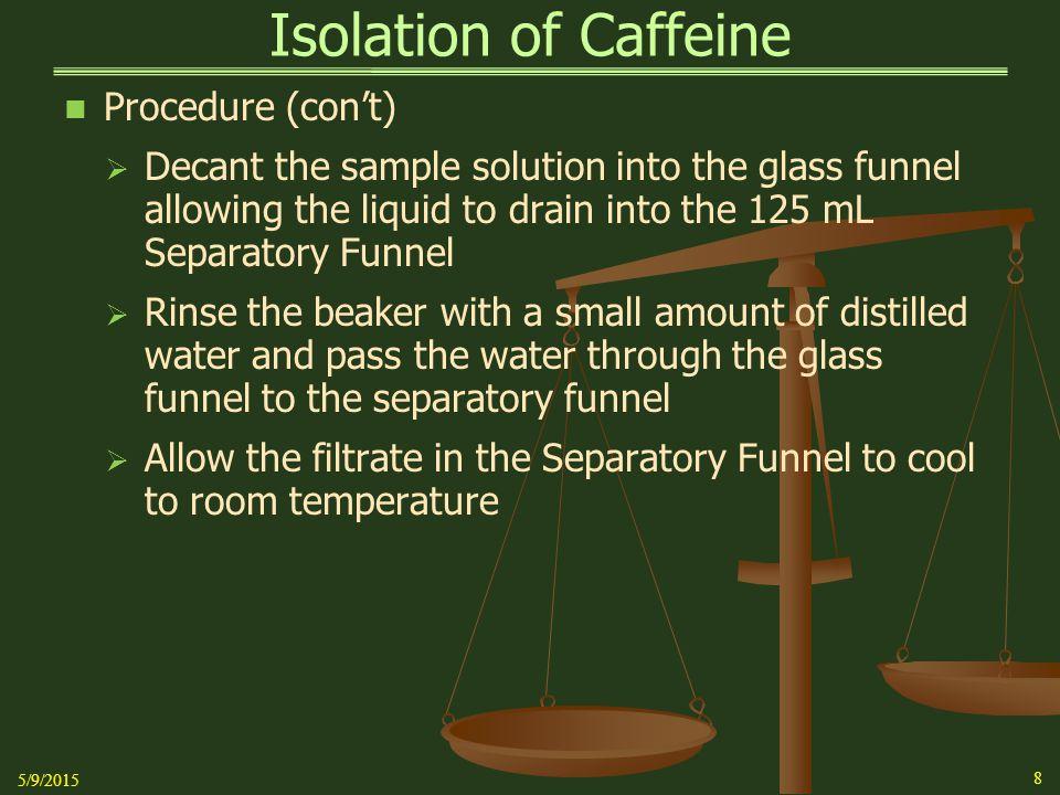 Isolation of Caffeine Procedure (con't)