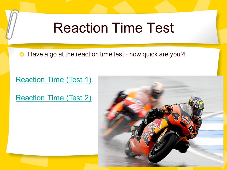 Reaction Time Test Reaction Time (Test 1) Reaction Time (Test 2)