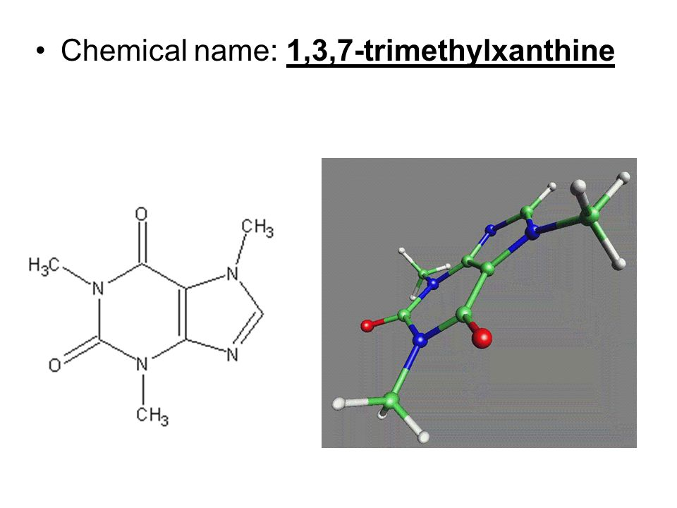 Chemical name: 1,3,7-trimethylxanthine