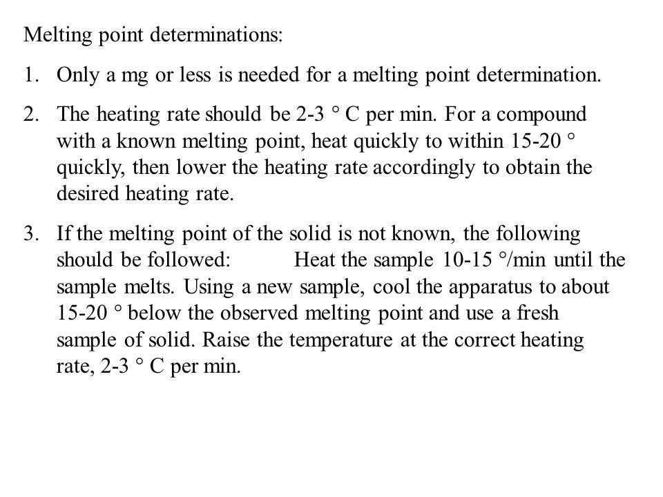 Melting point determinations:
