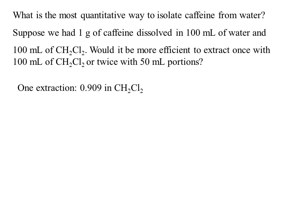 What is the most quantitative way to isolate caffeine from water