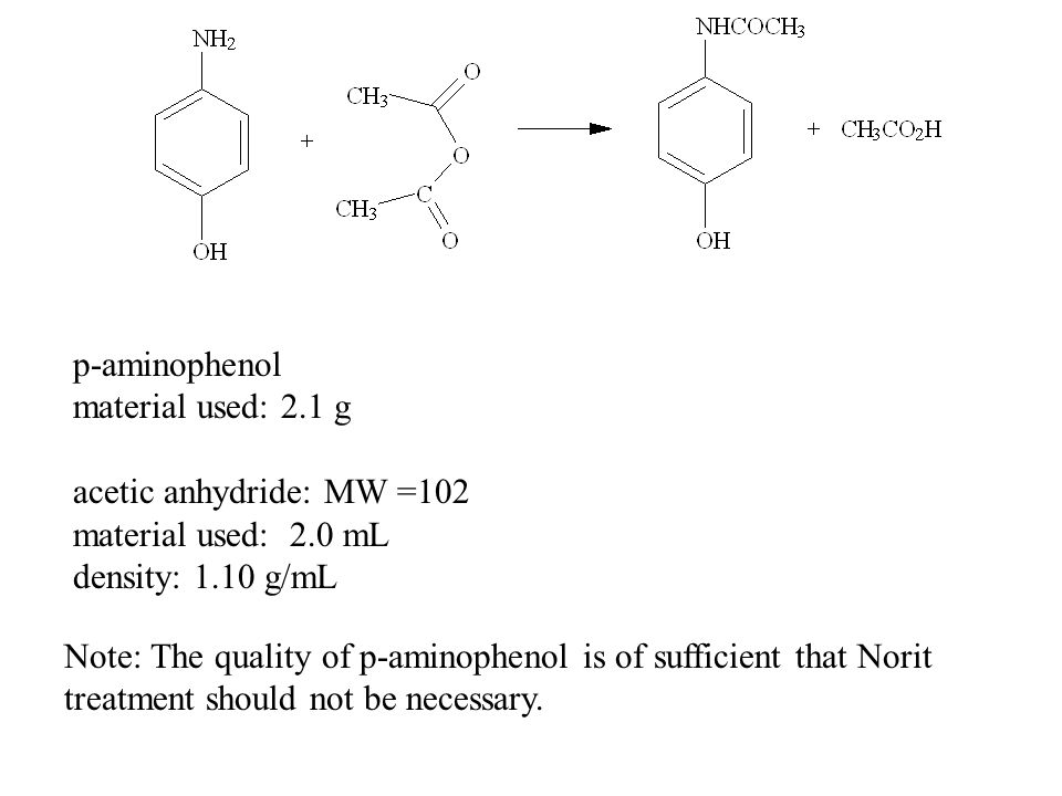 p-aminophenol material used: 2.1 g. acetic anhydride: MW =102. material used: 2.0 mL. density: 1.10 g/mL.