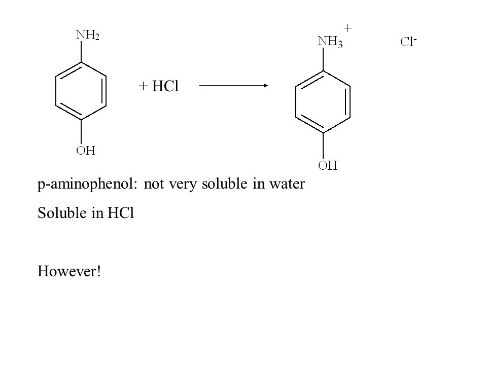 + HCl p-aminophenol: not very soluble in water Soluble in HCl However!