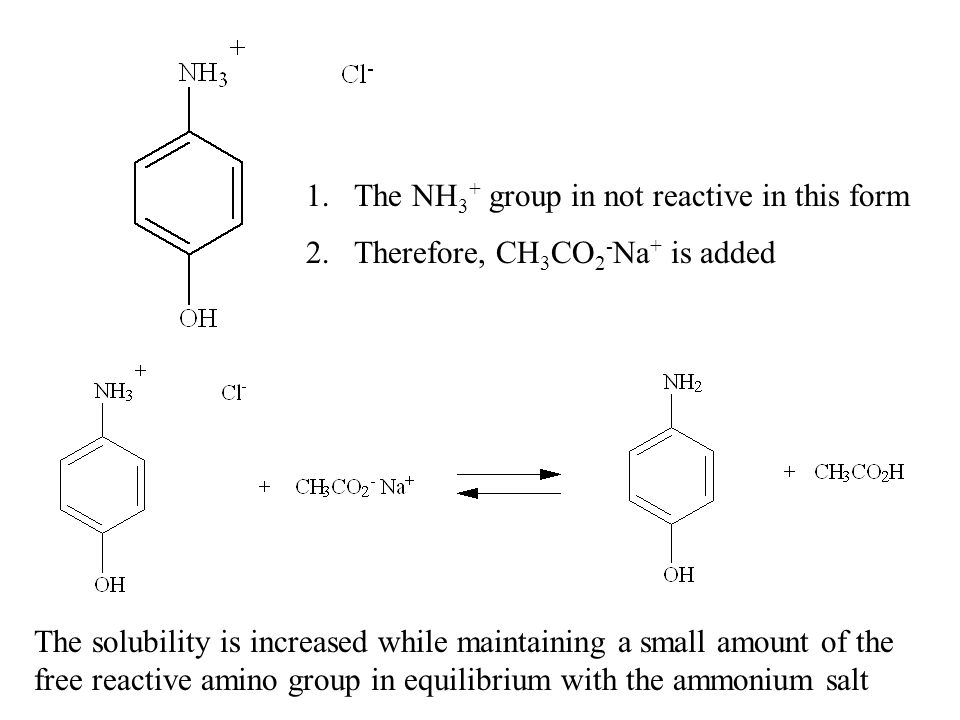 The NH3+ group in not reactive in this form