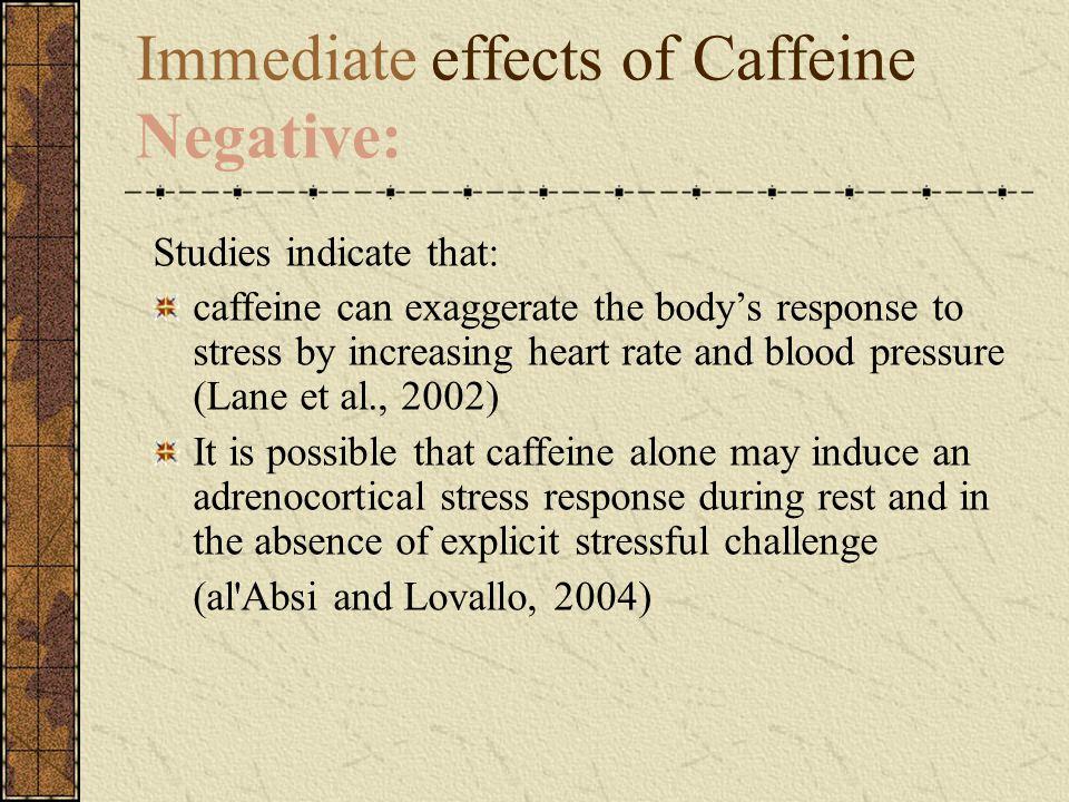 Immediate effects of Caffeine Negative: