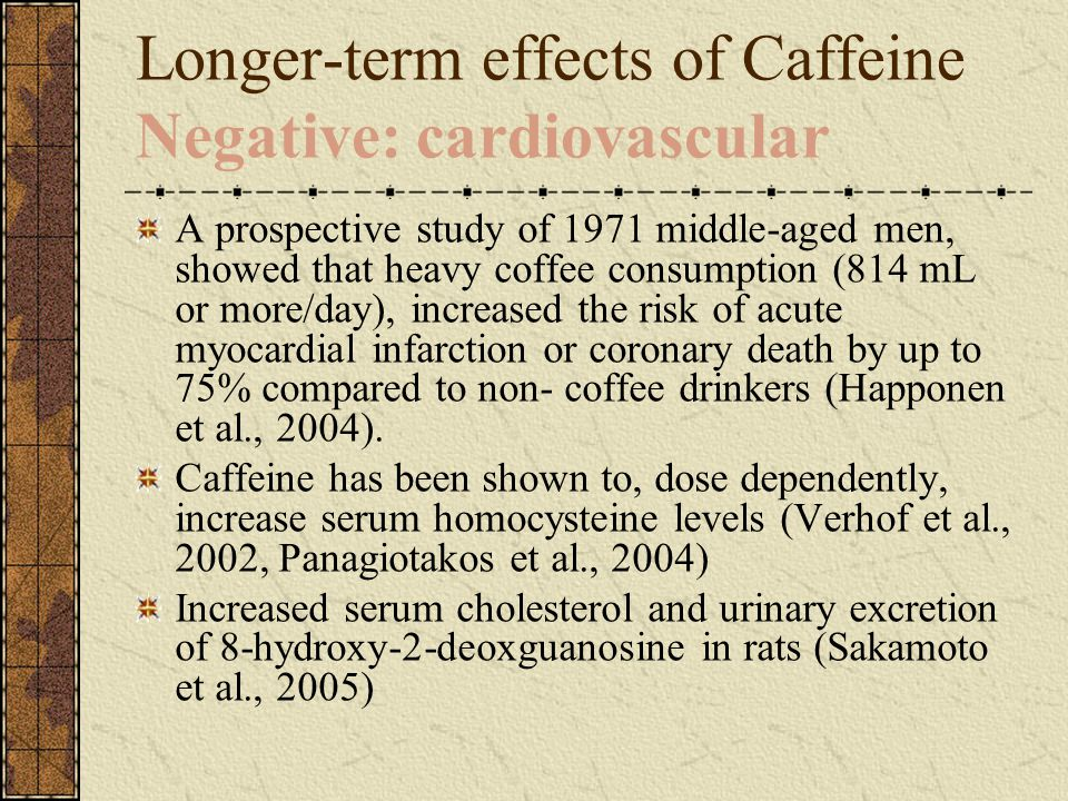 Longer-term effects of Caffeine Negative: cardiovascular