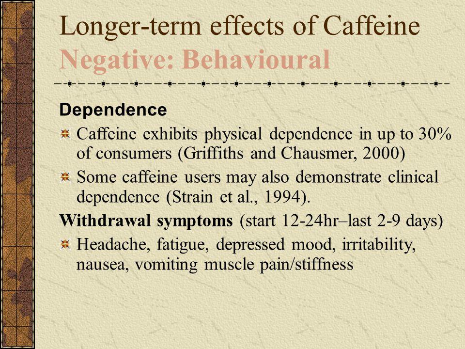 Longer-term effects of Caffeine Negative: Behavioural