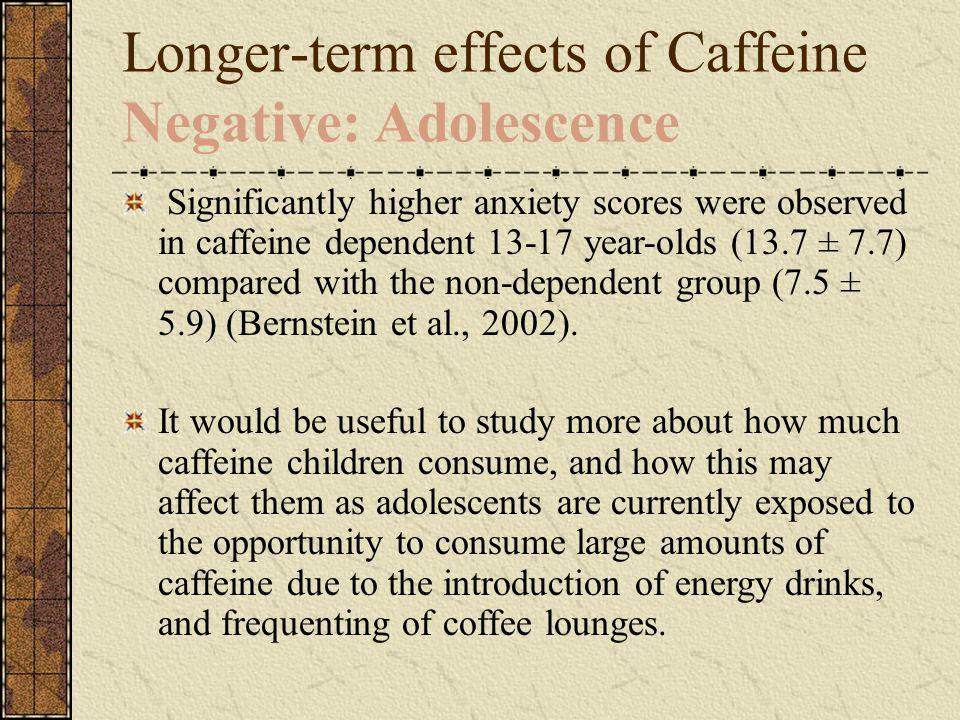 Longer-term effects of Caffeine Negative: Adolescence