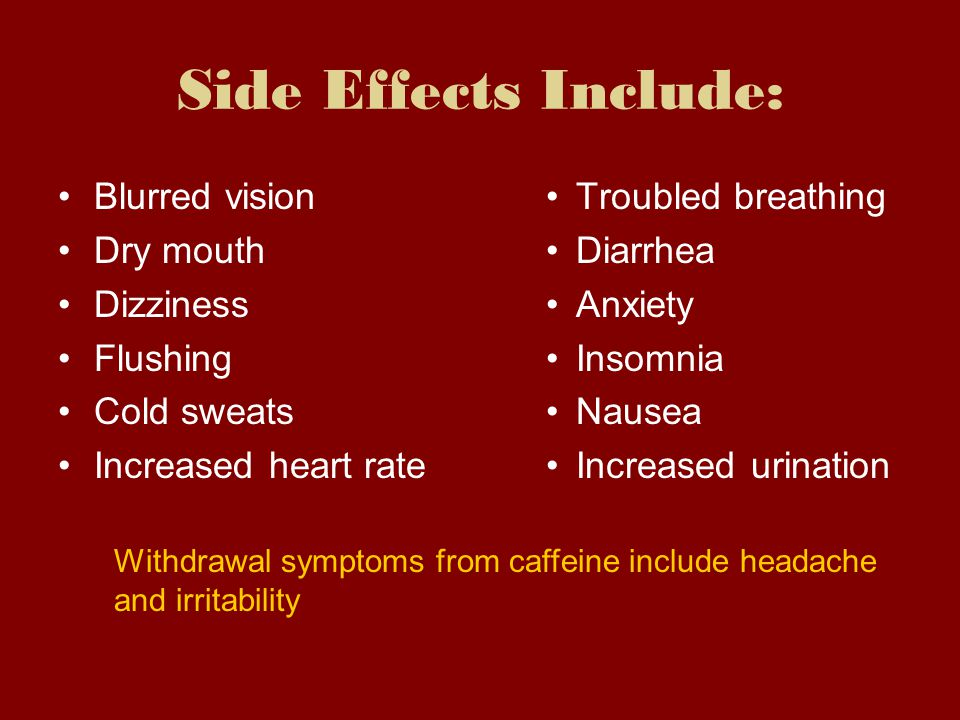 Side Effects Include: Blurred vision Dry mouth Dizziness Flushing
