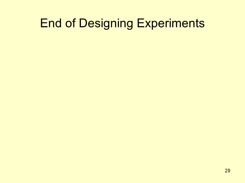 End of Designing Experiments