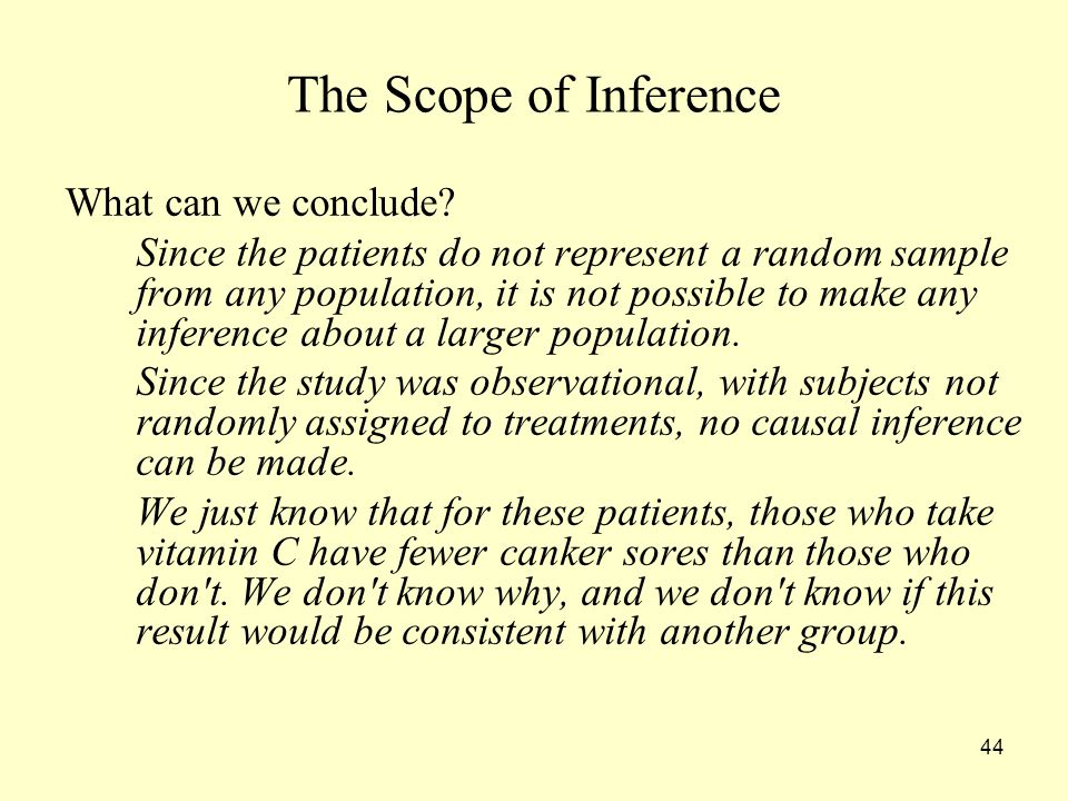 The Scope of Inference What can we conclude