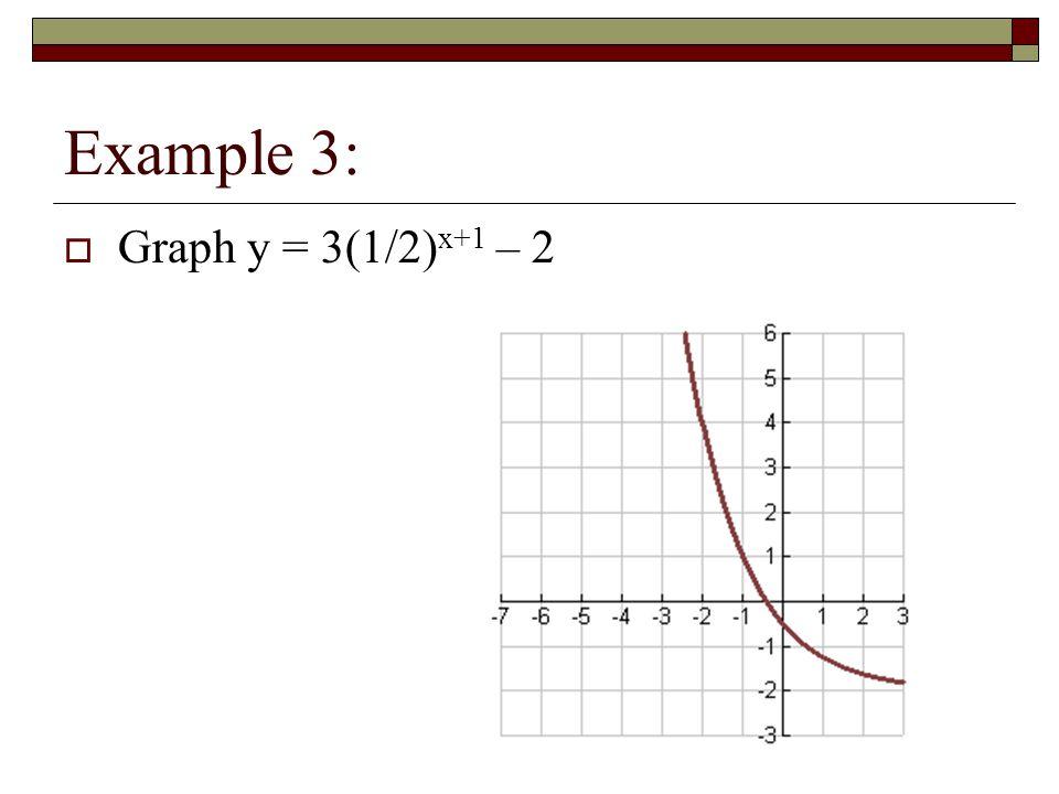 Example 3: Graph y = 3(1/2)x+1 – 2
