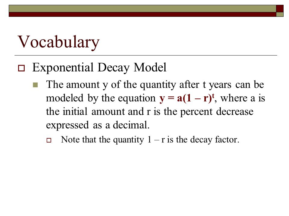 Vocabulary Exponential Decay Model
