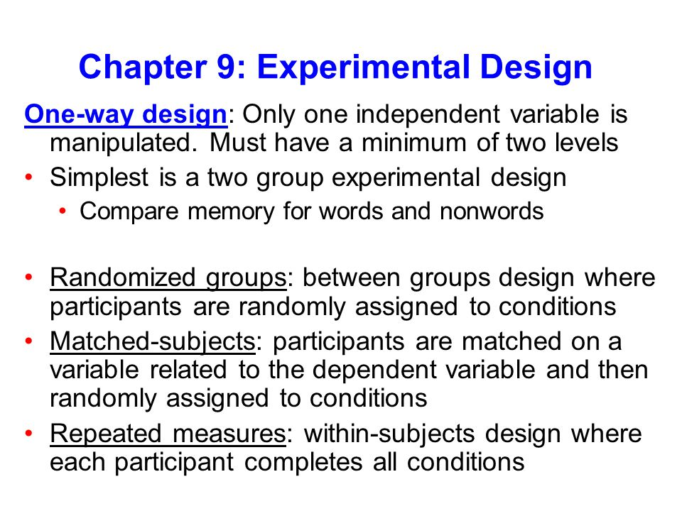 Chapter 9: Experimental Design