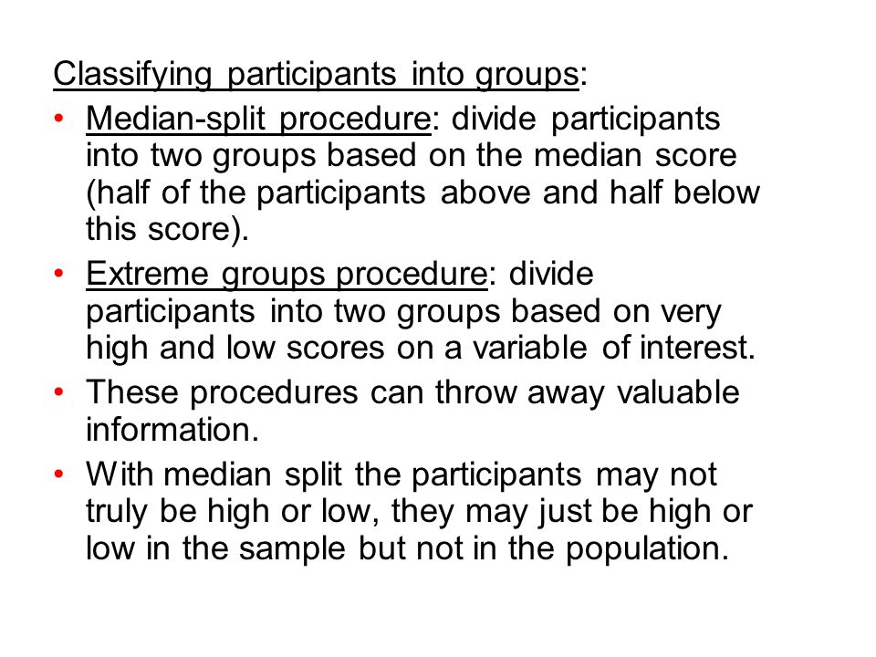 Classifying participants into groups: