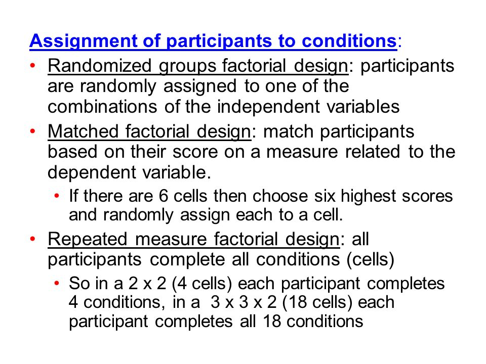 Assignment of participants to conditions: