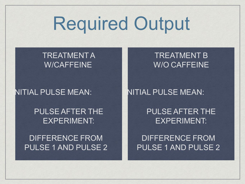 Required Output TREATMENT A W/CAFFEINE TREATMENT B W/O CAFFEINE