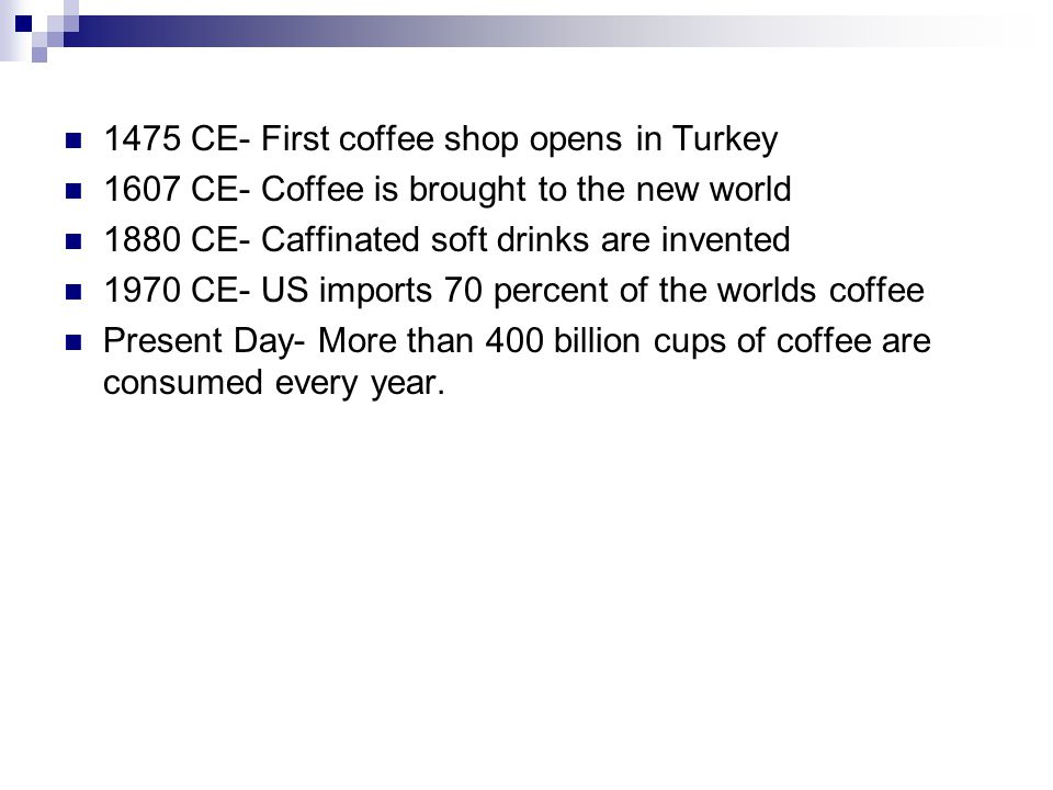 1475 CE- First coffee shop opens in Turkey