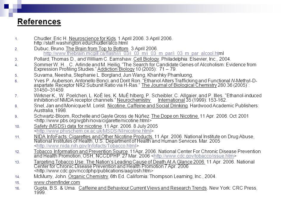 References Chudler, Eric H. Neuroscience for Kids. 1 April 2006. 3 April 2006. http://staff.washington.edu/chudler/alco.html.