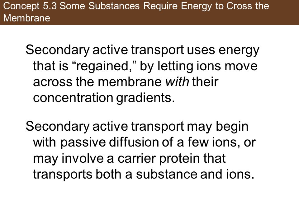 Concept 5.3 Some Substances Require Energy to Cross the Membrane