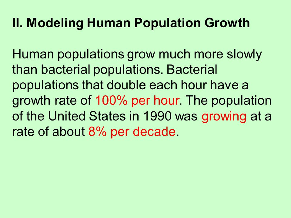 II. Modeling Human Population Growth