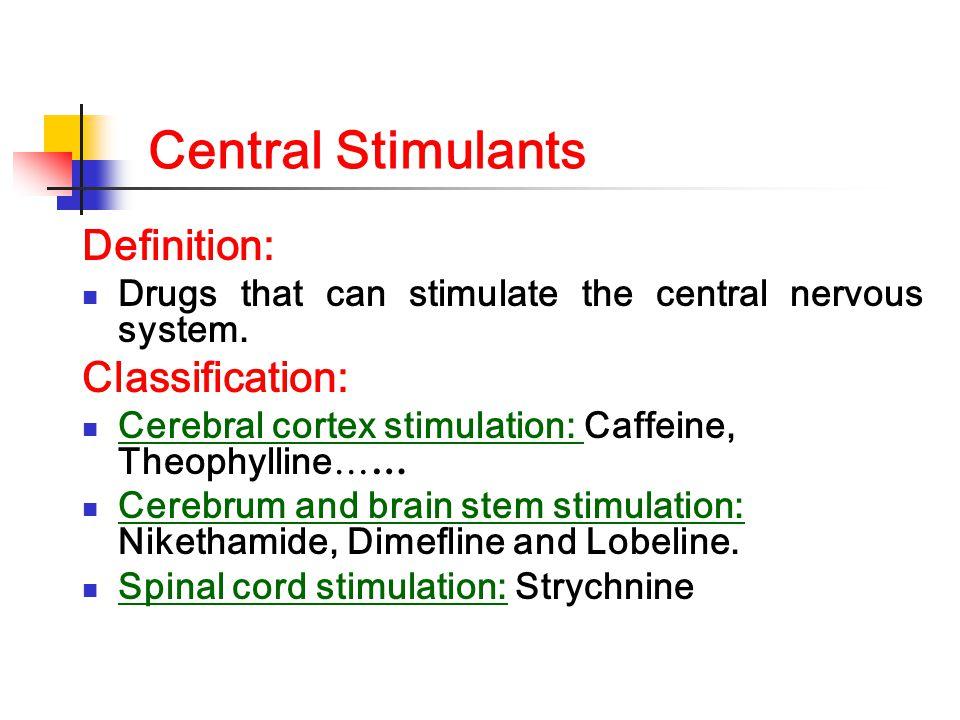 Central Stimulants Definition: Classification: