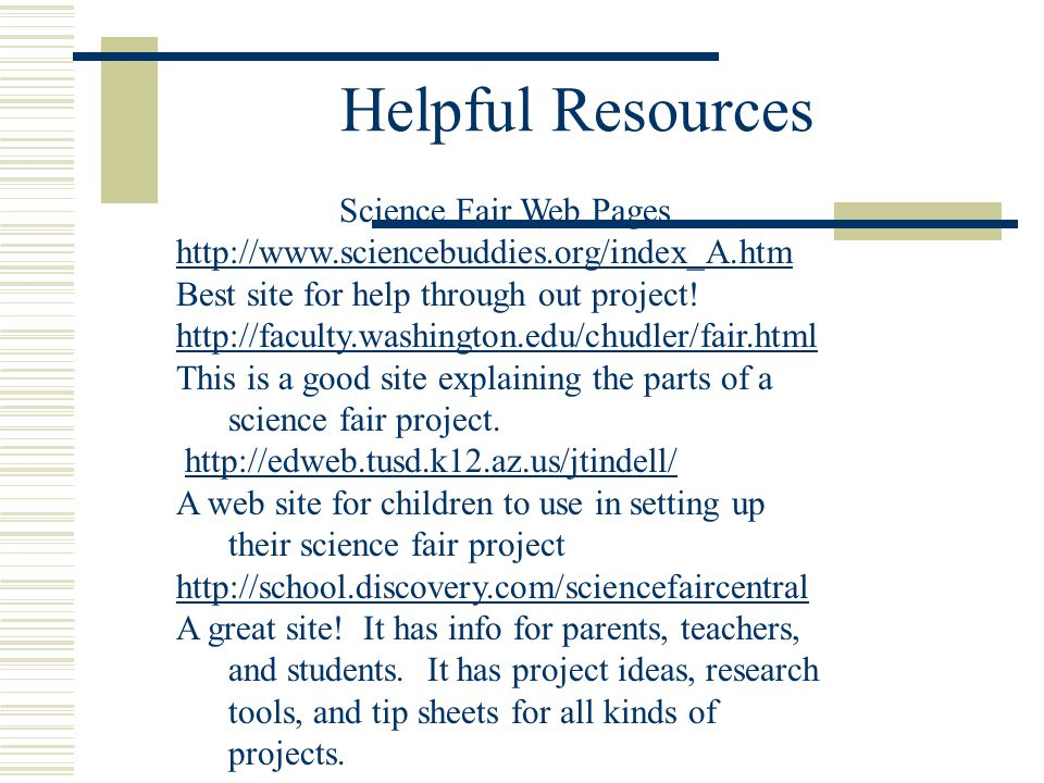Helpful Resources Science Fair Web Pages