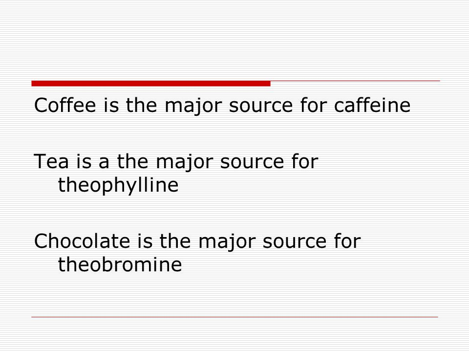 Coffee is the major source for caffeine