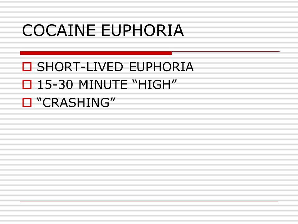 COCAINE EUPHORIA SHORT-LIVED EUPHORIA 15-30 MINUTE HIGH CRASHING