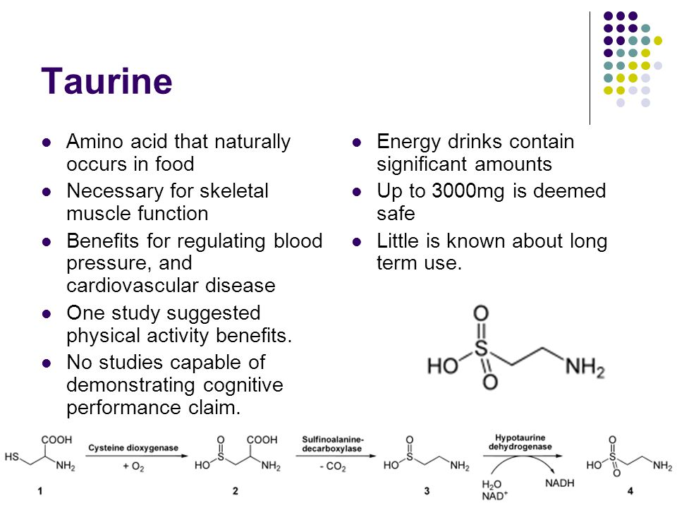 Taurine Amino acid that naturally occurs in food