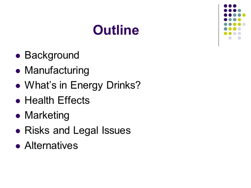 Outline Background Manufacturing What's in Energy Drinks
