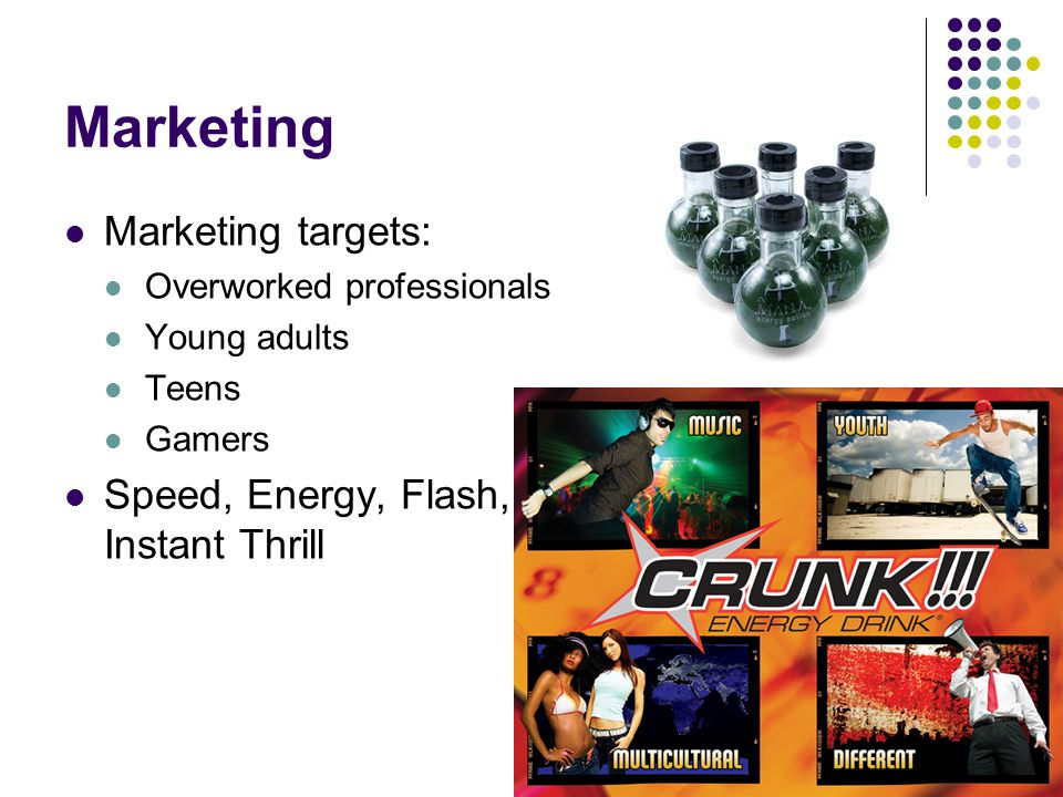 Marketing Marketing targets: Speed, Energy, Flash, Instant Thrill