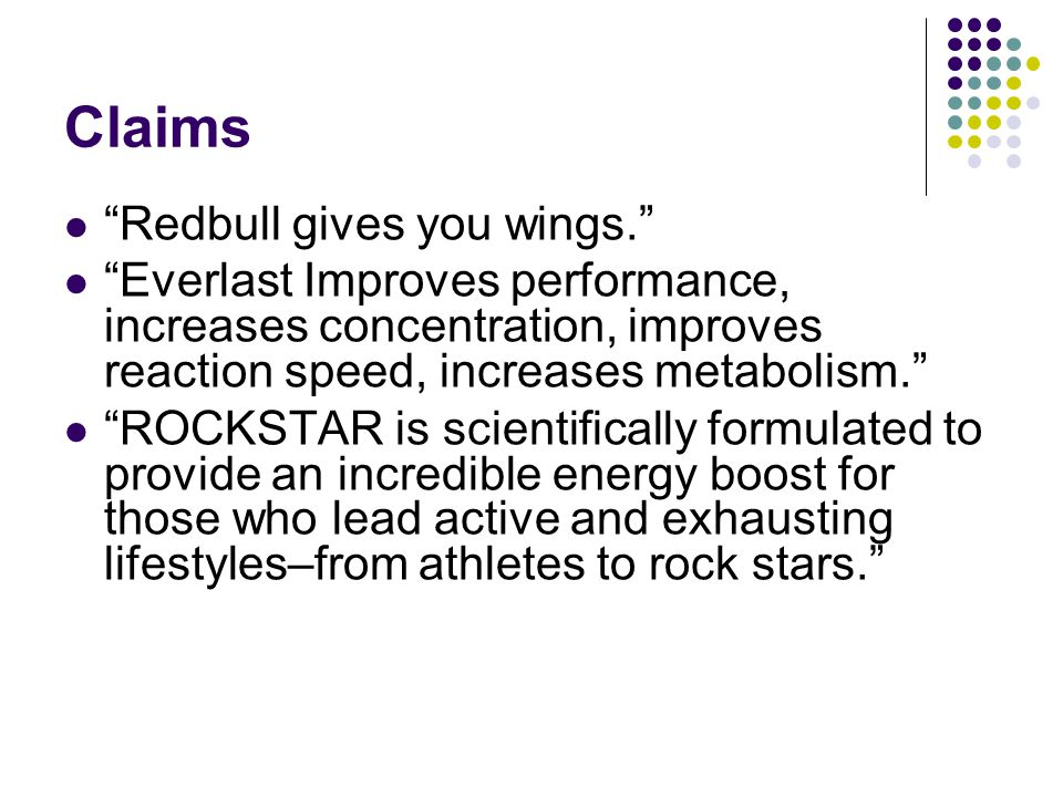 Claims Redbull gives you wings.