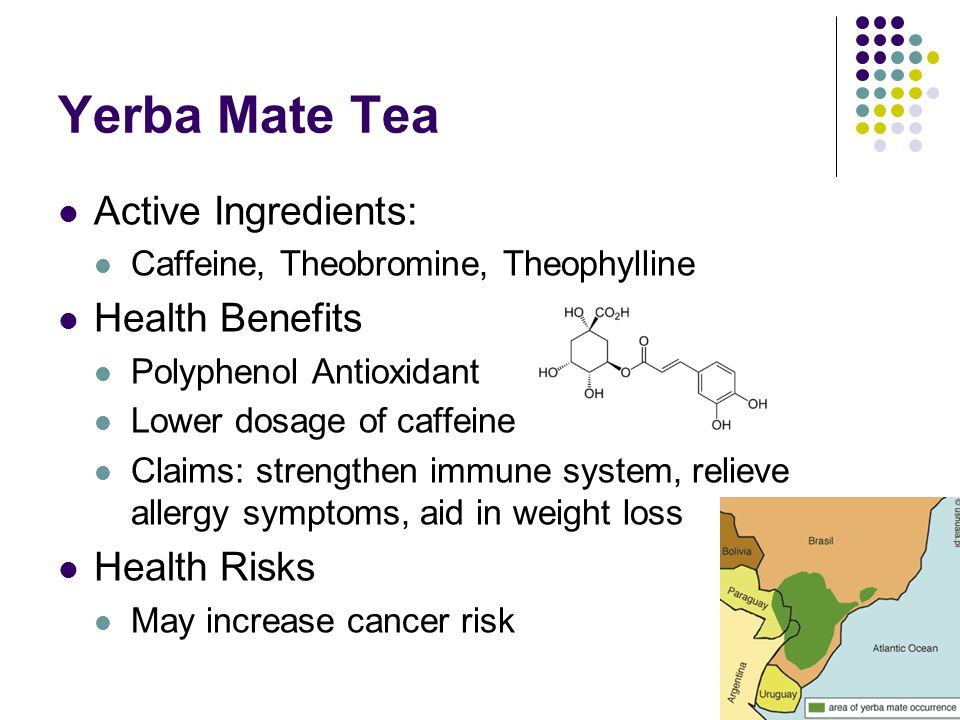 the health benefits of drinking the traditional beverage mate Some studies agree that yerba mate is the super-drink that it's claimed  this  tea is known for its powerful thermogenic effects, which means it.