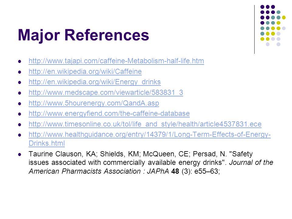 Major References http://www.tajapi.com/caffeine-Metabolism-half-life.htm. http://en.wikipedia.org/wiki/Caffeine.