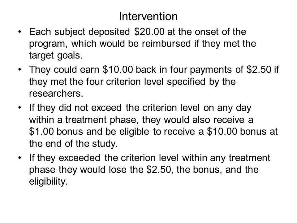 Intervention Each subject deposited $20.00 at the onset of the program, which would be reimbursed if they met the target goals.