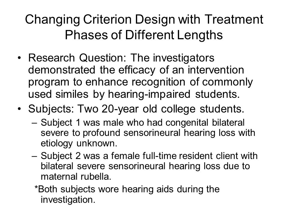 Changing Criterion Design with Treatment Phases of Different Lengths