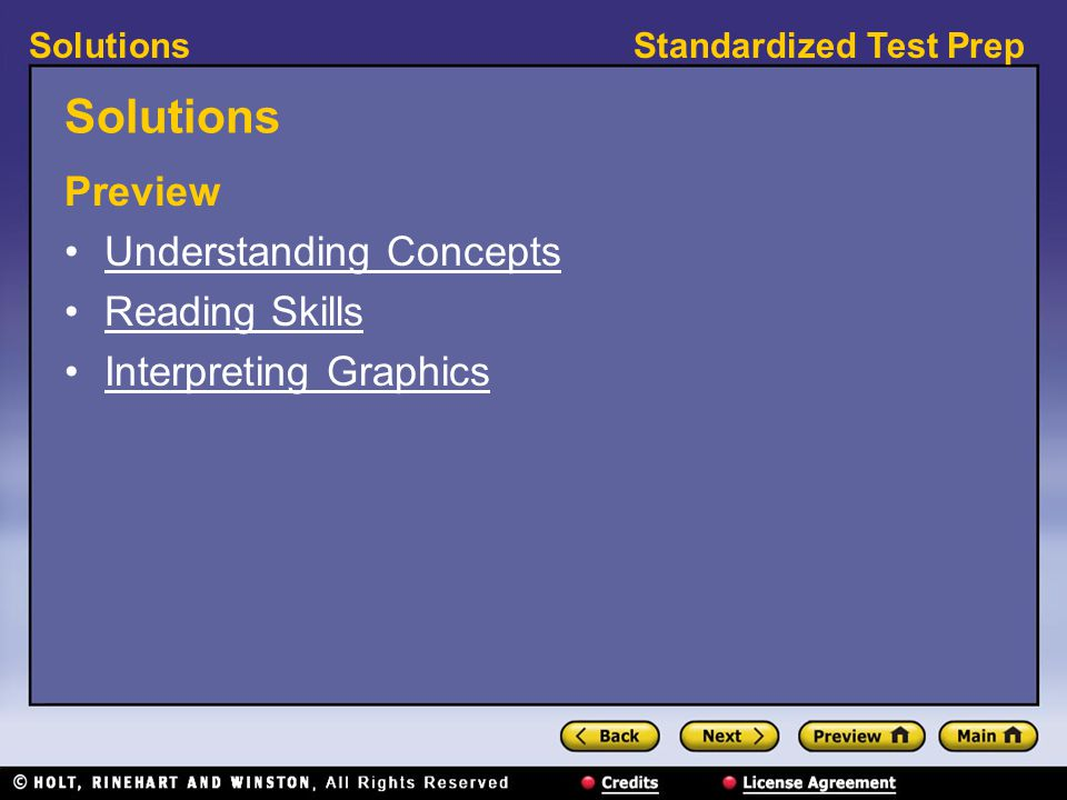 Solutions Preview Understanding Concepts Reading Skills