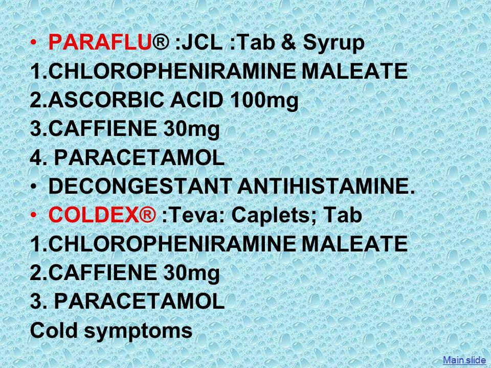 PARAFLU® :JCL :Tab & Syrup 1.CHLOROPHENIRAMINE MALEATE