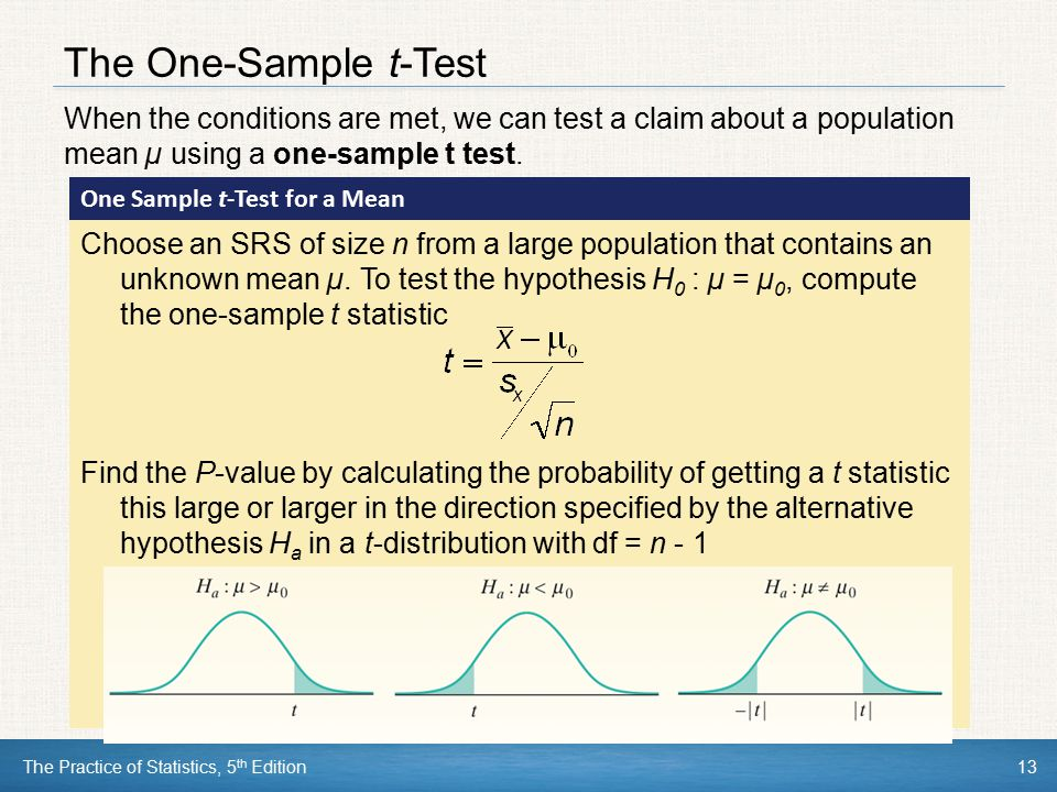 The One-Sample t-Test When the conditions are met, we can test a claim about a population mean µ using a one-sample t test.