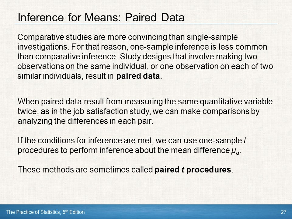Inference for Means: Paired Data