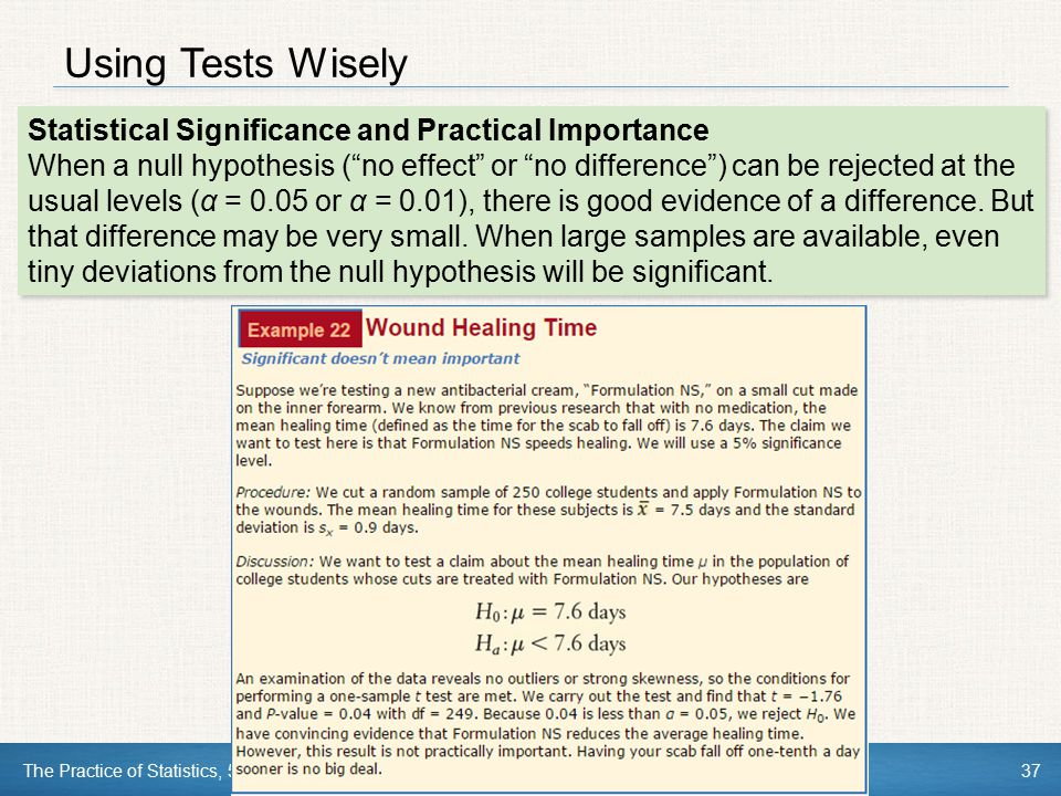 Using Tests Wisely Statistical Significance and Practical Importance
