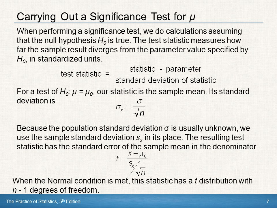 Carrying Out a Significance Test for µ